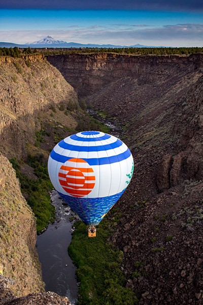 Winds often carry Darren Kling and his balloon into the Crooked River Gorge. - SUBMITTED