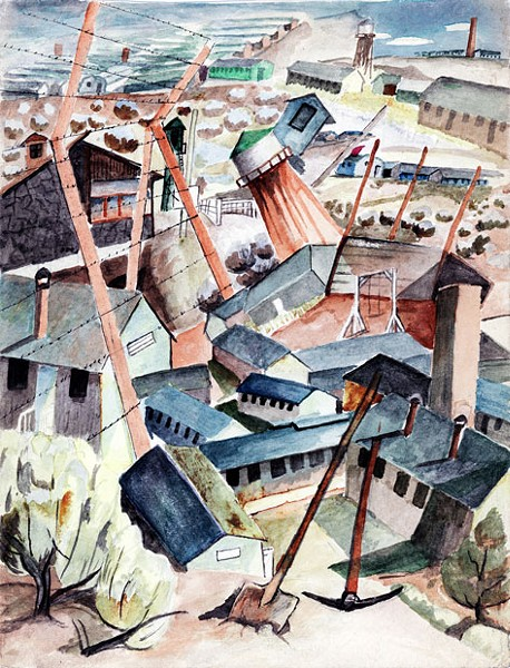 """Minidoka, Montage with Fence and Landmarks"" by Takuichi Fujii - COURTESY HIGH DESERT MUSEUM"