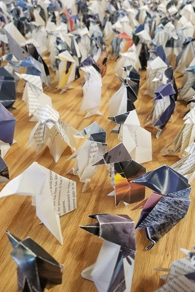 """Flock,"" an origami installation by Susan Porteous, was one of the exhibits during the Bend Art Center's closing reception in August 2019. - CHRISTIAN BROWN"