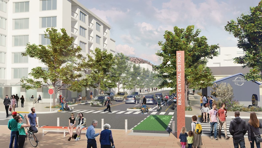 "A rendering of how Hawthorne Avenue within the Bend Central District could be transformed through the new policy and funding structures made possible by urban renewal. See the ""before"" photo of Hawthorne Avenue below. - WALKER MACY / CITY OF BEND"