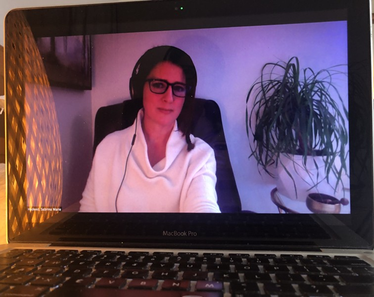 Dr. Sabrina Hadeed-Duea in her home office where she delivers counseling to her clients using the video conferencing platform Zoom. - SABRINA HADEED-DUEA
