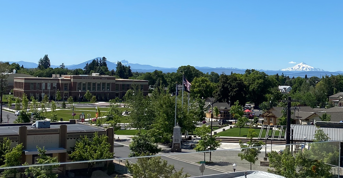The view of Redmond City Hall from the The Rooftop, the bar on the top floor of SCP Hotel Redmond. - LAUREL BRAUNS