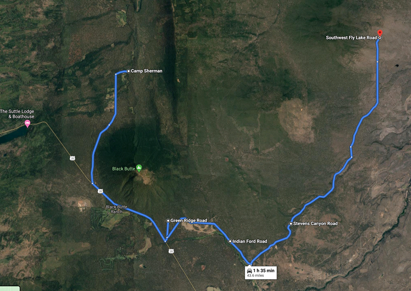 Please see official evacuation maps for the most updated evacuation areas at deschutes.org/emergency - SCREENSHOT VIA GOOGLEMAPS