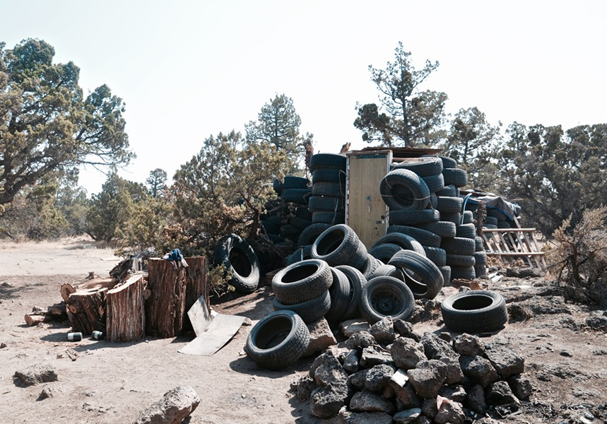 "Tires illegally dumped led a clever resident to create a ""Tire Temple"" of sorts. - CHADD TULLIS"