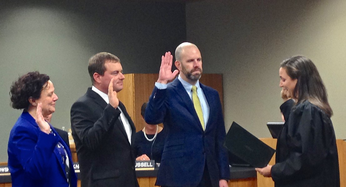 Boddie, third from left, during his swearing in for the Bend City Council in 2015. - ERIN ROOK