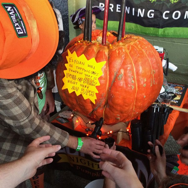Tapping a pumpkin: The next grand autumn tradition. - PHOTO BY ELYSIAN BREWING