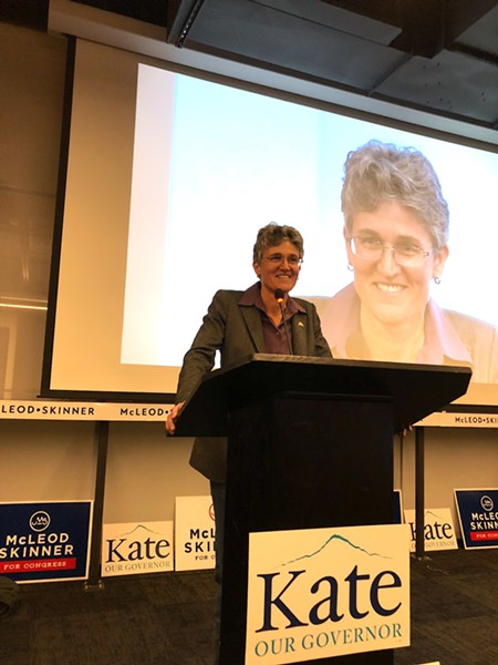 Jamie McLeod-Skinner gave a concession speech after her defeat by Greg Walden Tuesday night. McLeod-Skinner told supporters that she hoped the pressure her campaign had put on Walden would encourage the longtime Republican representative to put his focus back on his district. - CHRIS MILLER