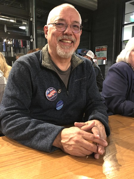 Democrat James Cook waits out the results of a tight race between himself and Republican Patti Adair for Deschutes County Commission, position 3. - CHRIS MILLER