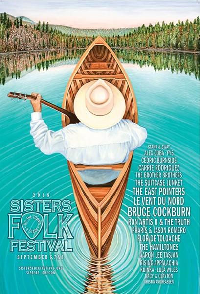 """""""Ripples"""" is artist Dennis McGregor's poster for the 2019 Sisters Folk Festival. - SISTERS FOLK FESTIVAL"""