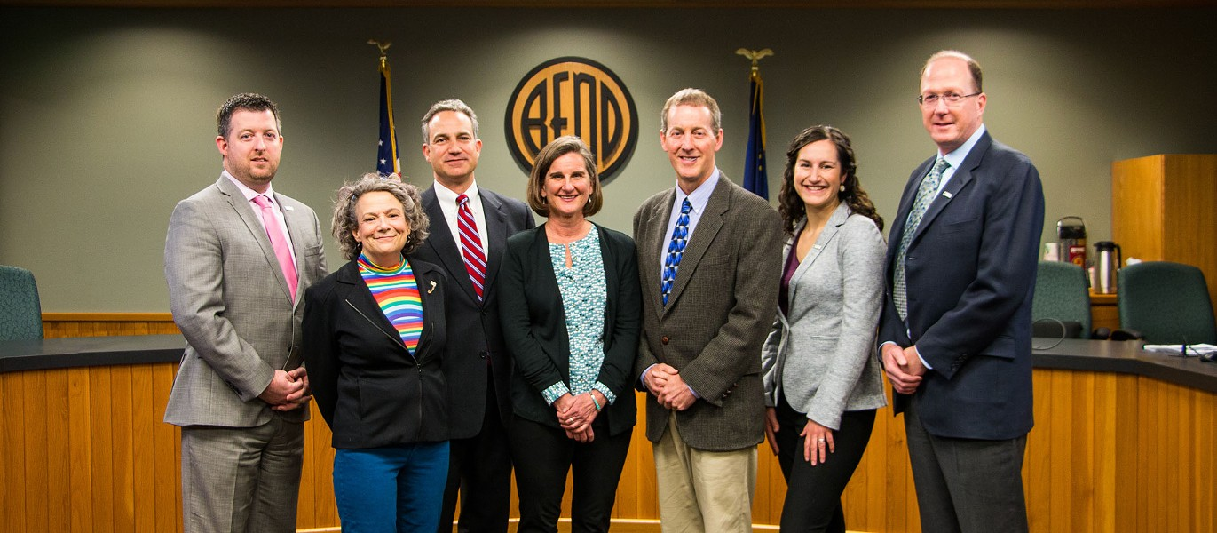 The City of Bend City Council. From left, Justin Livingston, Barb Campbell, Bill Moseley, Mayor Sally Russell, Bruce Abernethy, Gena Goodman-Campbell and Chris Piper. - CITY OF BEND