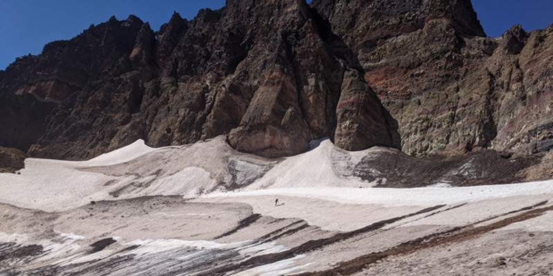 OGI was surprised to find that Crook Glacier on Broken Top is still technically active, but barely hanging in there.