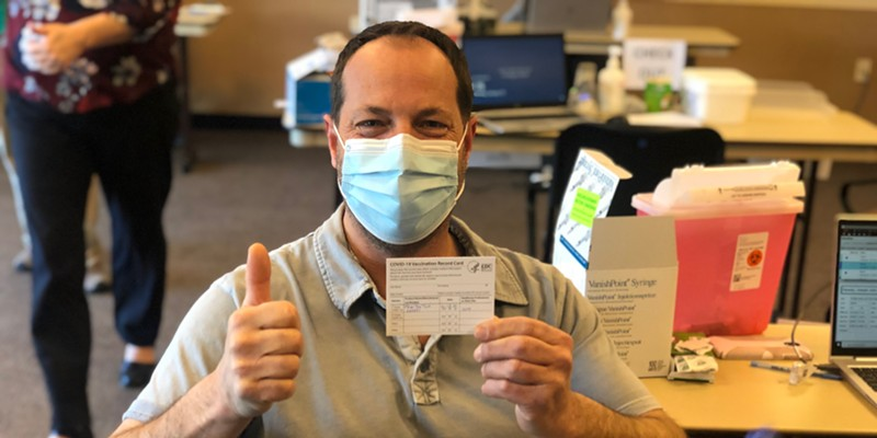 Pine Ridge Elementary School Life Skills Education Assistant Joey Kansky was the first educator in Deschutes County to receive a COVID-19 vaccination.