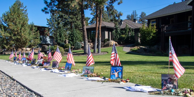 An impromptu memorial was erected on Reed Market Road across from Farewell Bend Park to memorialize the 13 U.S. Service Members killed in an attack at the Kabul Airport last month.