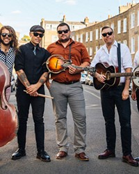 Larry and His Flask band members, from left to right: Jeshua Marshall, Jamin Marshall, Kirk Skatvold, Ian Cook and Andrew Carew.