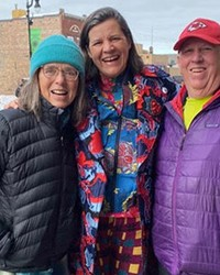 Floy Sitts, left, and Richard Sitts flank filmmaker Kirsten Johnson in downtown Park City, Utah, during the recent 2020 Sundance Film Festival.