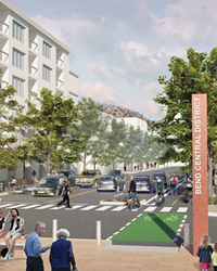 Rendering of possible improvements to NE First Street and NE Hawthorne spurred with tax increment funding (TIF).