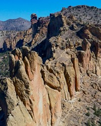 A bird's-eye view of Smith Rock State Park's many rock faces.