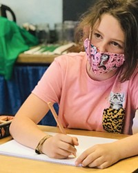 5th grader, Sophia Gregory, attends class at the Bend Waldorf School