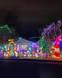 Is it Santa's workshop or just a helpful elf getting into the holiday spirit? Either way, this home on NE Meadow Lane in Bend gets an A for effort.