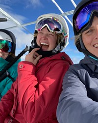 I love my snowboard... and my split board—but getting together with a lady shred crew is what life is all about.