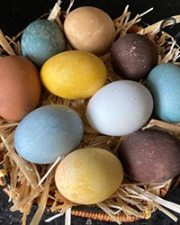 Tea-dyed eggs—especially ones that come from a diverse backyard flock—make a beautiful, muted palette.