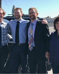 Luke Wirkkala on the day of his release. From left to right: attorney Thaddeus Betz, Luke Wirkkala, attorney Joel Wirtz and investigator Vicki Kipp.