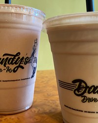 Dandy's has a shake menu so big you can spend an entire pandemic checking it out. Pictured here is the classic chocolate shake and the root beer shake—like a mixed-up root beer float. Yum.