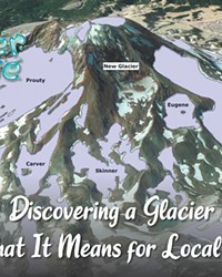 This map shows the location of various glaciers on the South Sister.