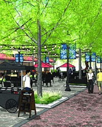 Conceptual art from Szabo Landscape Architecture shows an on-the-street view of what Minnesota Avenue could look like if converted to a pedestrian plaza.