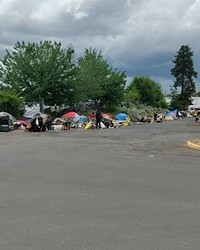 Camps line both sides of Emerson Avenue in Bend. On Wednesday, June 2, Bend City Council adopted policies that set criteria for the camp's removal.