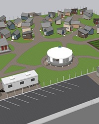Oasis Village renderings show the tiny bedrooms, storage and facilities for the proposed community for unhoused people.