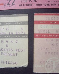 My torn Chicago ticket stub does not include the price; I'm guessing it was in the $7.50 range, a little spendy for the time. And yes, next to it is a ticket stub for Grand Funk Railroad.