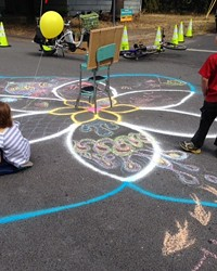 The corner of NE 6th Ave and Marshall became the site of intersection chalk art during the Open Streets event Sep. 18.