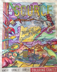 Coloring by Kayla Marie Van Cleve - the winner in the Adult Category.   Congrats to all the winners, and thanks to artist Elissa Pfost for the gorgeous illustration that made this cover come alive!