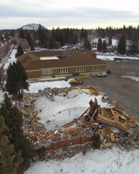 Crews demolished the Kenwood School gym building on Bend's west side the same day the collapse was discovered, Jan 12, 2017. This photo shows the progress on the demolition as of the week of Feb. 1.