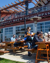 Worthy Brewing Company The grand daddy patio space on the deep east side of Bend, featuring multiple levels of outdoor seating, live music and a lovely demonstration garden to boot. 495 NE Bellevue Dr., Bend 541-639-4776 worthybrewing.com