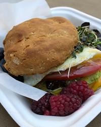 The gluten-free breakfast sando at Plantd is more than a tasty egg biscuit; it's packed with healthy fats, a rich source of choline, and lycopene.