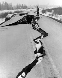 A scene from the Alaska earthquake of 1964, showing roads with damage not unlike some from this week's quake.