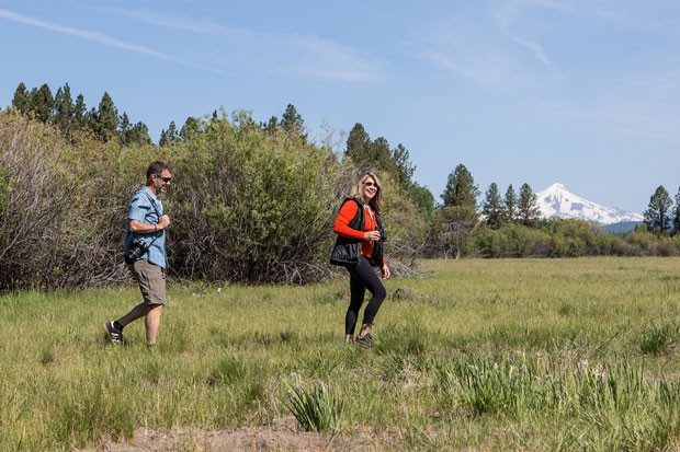 Bird surveyors hike along the Deschutes Land Trust Preserves. - COURTESY DESCHUTES LAND TRUST/JILL ROSELL