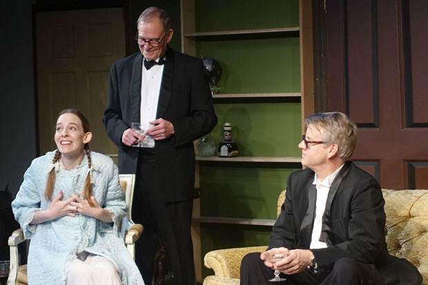 "Pictured from left, Mary Hildebrandt, Randy Heise and Bruce Moon rehearse for ""The Columnist,"" opening Friday. - ELIZABETH WARNIMONT"
