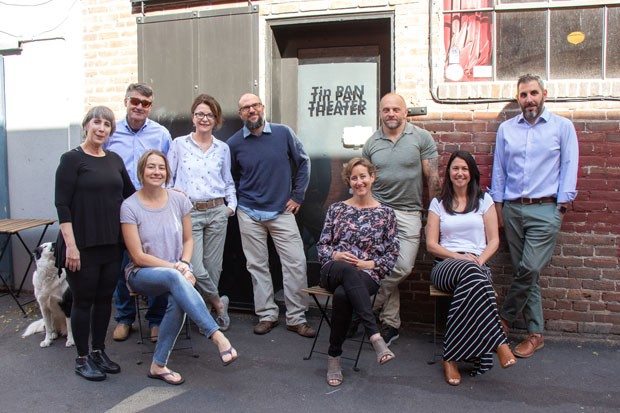 The BendFilm staff and board of directors outside of the Tin Pan Theater on May 7. BendFilm recently bought the indie theater and took over operations on May 1. - KEELY DAMARA