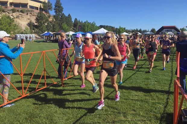 Karyn Woods runs the Happy Girls Run Bend half marathon in May 2018. - COURTESY KARYN WOODS
