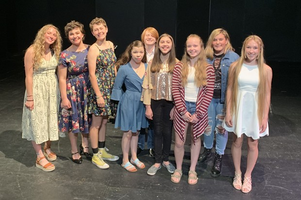 Participants in the Honors Performance Series, from left: Emma Toney, Gracie Conant, Mckinley Lawson, Miya Corpstein, Luke Wulf, Alex Dennis, Emmy Beal, Samantha Maragas and Sierra Pierce. - ANGELINA ANELLO-DENNEE