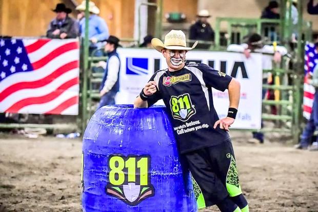 Professional rodeo clown JJ Harrison says his job is to protect riders in the arena while entertaining fans in the stands. - COURTESY JJ HARRISON