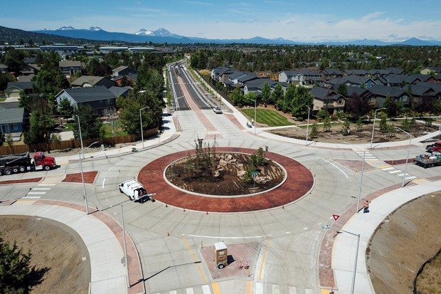 The new roundabout has opened at Empire Avenue and Purcell Boulevard in Bend as construction continues on the rest of the entire project. - DAVID LEATH, CITY OF BEND
