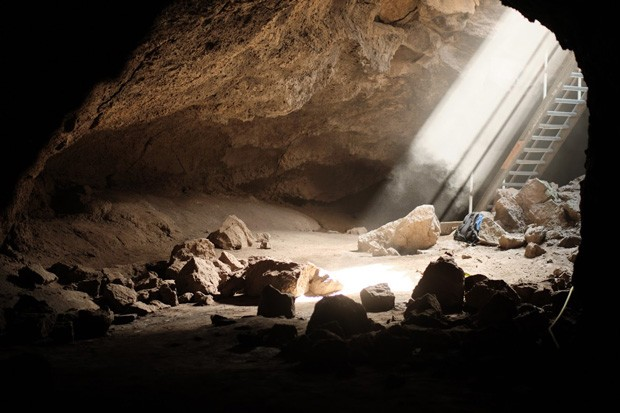 A shaft of light illuminates Boyd Cave, its condition already improved by volunteers. - DREW PICK