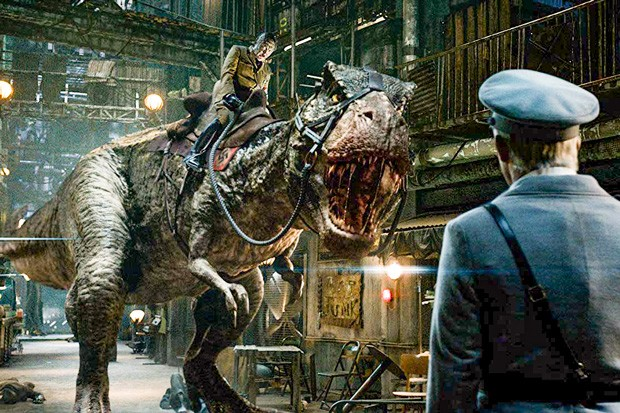 "Lizard Hitler rides a T-Rex in the rambunctious smashup, ""Iron Sky: The Coming Race."" - PHOTO COURTESY OF WARNER"