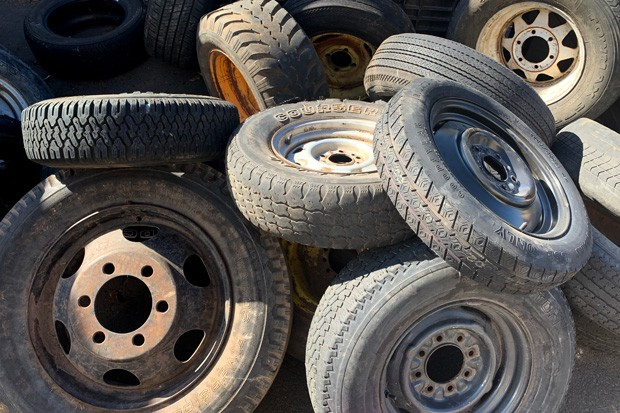 Threadbare tires ready for shredding. - SUZANNE JOHNSON