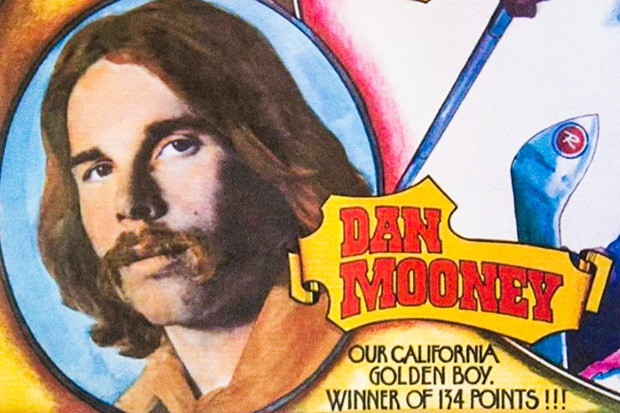 """Dan Mooney is featured on a portion of a poster for the """"Rossingnol Flying Circus,"""" promoting members of its 1972-73 ski team. - COURTESY DAN MOONEY"""
