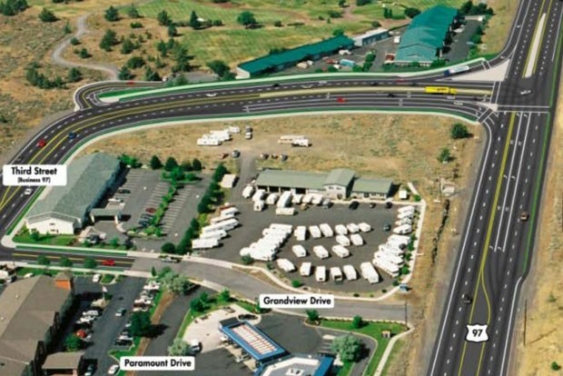 "The plan includes converting the existing US Highway 97 into a business route connecting with Clausen Road to the north and Third Street to the south. It would intersect with the new US Highway 97 at a ""T"" with stoplights at the North Pointe Church. - COURTESY OREGON DEPARTMENT OF TRANSPORTATION"